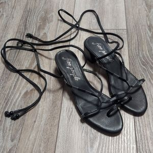 Free People Hermosa Black Lace Up Sandals NEW Sz 8